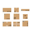 cardboard boxes set isolated on white vector image