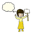 cartoon hippie girl with protest sign with thought vector image