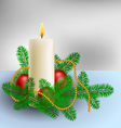 Christmas decoration with candle and pine branches vector image vector image