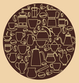 Coffee silhouette Pots with Cups vector image vector image