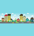 colorful houses on street with cars and cyclis vector image
