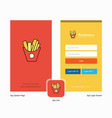 company fries splash screen and login page design vector image