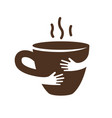 creative coffee or tea cup and hands logo design vector image vector image