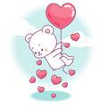 cute little bear flying on a heart balloon vector image
