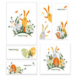 Easter bunnies and eggs vector image