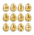 easter gold eggs set with white decor vector image vector image