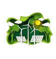 eco city with green energy paper cut vector image vector image