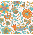 Foral seamless pattern with fox hen chicken vector image vector image