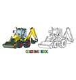 funny constuction tractor with eyes coloring book vector image