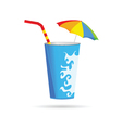 glass of juice with a straw vector image vector image
