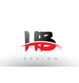 hb h b brush logo letters with red and black vector image vector image