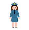 isolated female police officer icon vector image