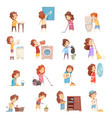 kids cleaning cartoon icons set vector image