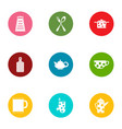 kitchen service icons set flat style vector image