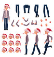 man in santa hat character creation set vector image vector image