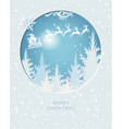 merry christmas card with santa claus on the sky vector image vector image