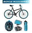 mountain bike with bicycle accessories helmet vector image