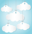 paper clouds hanging ropes on blue background vector image