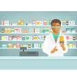 pharmacist black man with medicine in pharmacy vector image vector image
