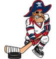 pirate sports logo mascot hockey vector image vector image