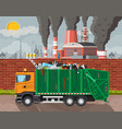plant smoking pipes garbage truck full trash vector image vector image