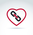 red heart with link symbol love relationship idea vector image vector image