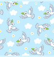seamless with white doves on a vector image vector image