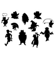 set cartoon silhouettes isolated on white backg vector image