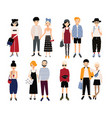 set of stylish young people and love couples vector image vector image