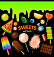 set sweet candies halloween decorated elements vector image