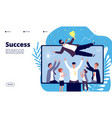 successful team businessmen group employees throw vector image
