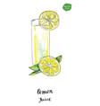 watercolor glass summer lemon juice vector image vector image