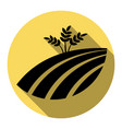 wheat field sign flat black icon with vector image