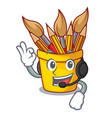 with headphone pot pencil in shape cartoon funny vector image