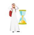 worried muslim traveler man looking at hourglass vector image vector image