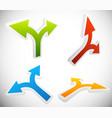 3d 2 way arrow shapes set - arrow design elements vector image