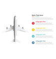 aeroplane or plane infographics template with 4 vector image vector image