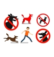 Angry mad dog Beware sign icons set vector image vector image