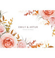 autumn floral wedding invite card poster design vector image vector image