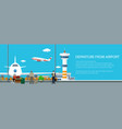 banner view on a take-off airplane vector image vector image