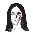 beautiful brunette with half skull face hand drawn vector image vector image