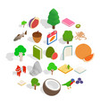 biological science icons set isometric style vector image