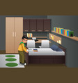 boy folding clothes in his bedroom vector image