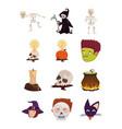bundle halloween set icons vector image vector image