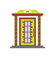 cartoon green front door of house vector image vector image