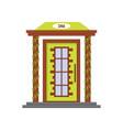 cartoon green front door of house vector image