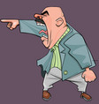 cartoon of an aggressive bald man in a suit yells