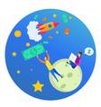 cartoon woman man investor dollar rocket in space vector image