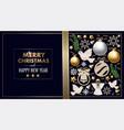 christmas banner or postcard with balls pine vector image