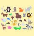 cut out exotic domestic and farm animals poster vector image vector image